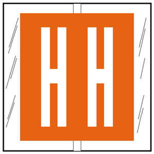 """Col'R'TAB Top Tab Alpha Labels - 82100 Series - Letter 'H' - Orange- 1-1/2"""" H x 1-1/2"""" W - Labels on Sheets - 100/Pack"""