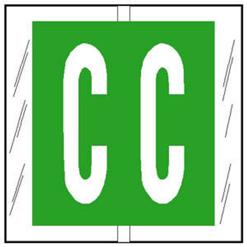 """Col'R'TAB Top Tab Alpha Labels - 82100 Series - Letter 'C' - Light Green - 1-1/2"""" H x 1-1/2"""" W - Labels on Sheets - 100/Pack"""