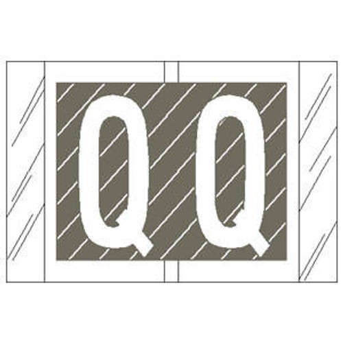 "Col 'R' Tab Alpha Color Coded Labels - 82000 Series - Letter ""Q"" - Gray - 1"" H x 1-1/2"" W - 100 Labels Per Pack"
