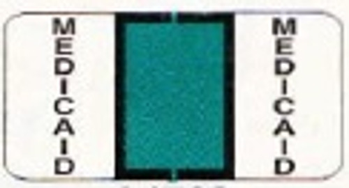 "Jeter Specialty Labels - ""Medicaid"" - Color Aqua - 1 1/2"" W x 3/4"" H - Pages for Ring Binder -  270 Labels per Package"