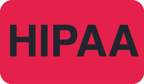 """HIPPA"" Chart Label -  Fl. Red -  1-1/2"" x 7/8"" - 250/Roll"