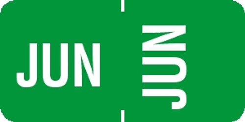 "Tabbies® 1/2"" Horizontal/Vertical Month Labels, Light Green, 1/2""H x 1""W, ""JUN"", 100 Labels/Pack"