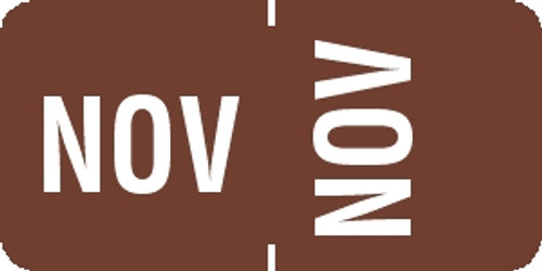 "Tabbies® 1/2"" Horizontal/Vertical Month Labels, Brown, 1/2""H x 1""W, ""NOV"", 100 Labels/Pack"