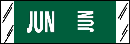 """Tabbies® COL'R'TAB® Horizontal/Vertical Month Tabs, Dark Green, 1/2""""H x 1-1/2""""W, """"JUNE"""" 100/Pack"""
