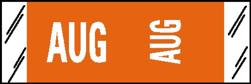 """Tabbies® COL'R'TAB® Horizontal/Vertical Month Tabs, Orange, 1/2""""H x 1-1/2""""W, """"AUGUST"""" 100/Pack"""