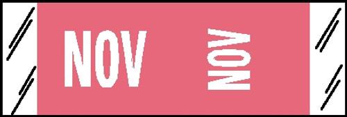 """Tabbies® COL'R'TAB® Horizontal/Vertical Month Tabs, Pink, 1/2""""H x 1-1/2""""W, """"NOVEMBER"""" 100/Pack"""