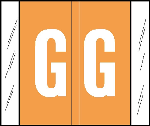 """Tabbies® GBS/VRE Compatible Alpha Labels, Orange, 1-5/16""""H x 1-1/2""""W, """"G"""", 500 Labels/Roll"""