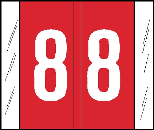 """Tabbies® GBS/VRE Compatible Numeric Labels, Red, 1-5/16""""H x 1-1/2""""W, """"#8"""", 500 Labels/Roll"""