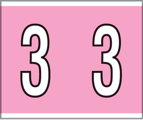 """Tabbies® Kardex PSF-138 Compatible Numeric Labels, Pink, 1-1/2""""H x 1-1/4""""W, """"#3"""", 500 Labels/Roll"""