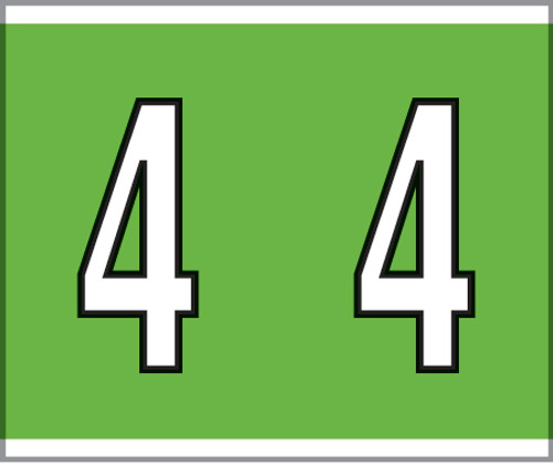 """Tabbies® Kardex PSF-138 Compatible Numeric Labels, Green, 1-1/2""""H x 1-1/4""""W, """"#4"""", 500 Labels/Roll"""