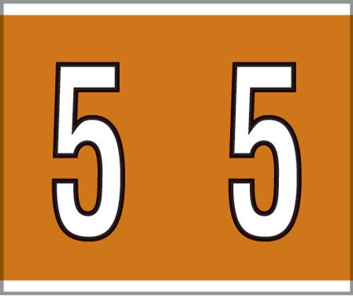 """Tabbies® Kardex PSF-138 Compatible Numeric Labels, Brown, 1-1/2""""H x 1-1/4""""W, """"#5"""", 500 Labels/Roll"""