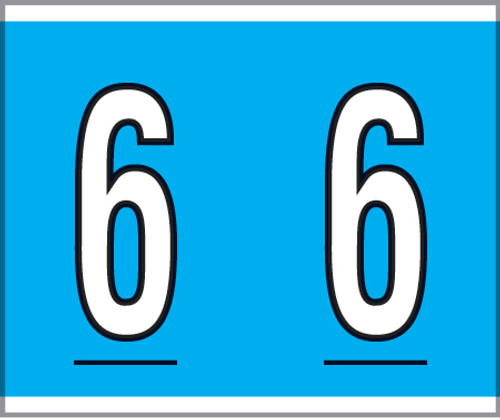 """Tabbies® Kardex PSF-138 Compatible Numeric Labels, Blue, 1-1/2""""H x 1-1/4""""W, """"#6"""", 500 Labels/Roll"""