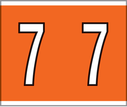 """Tabbies® Kardex PSF-138 Compatible Numeric Labels, Orange, 1-1/2""""H x 1-1/4""""W, """"#7"""", 500 Labels/Roll"""