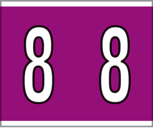 """Tabbies® Kardex PSF-138 Compatible Numeric Labels, Violet, 1-1/2""""H x 1-1/4""""W, """"#8"""", 500 Labels/Roll"""