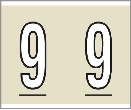 """Tabbies® Kardex PSF-138 Compatible Numeric Labels, Tan, 1-1/2""""H x 1-1/4""""W, """"#9"""", 500 Labels/Roll"""