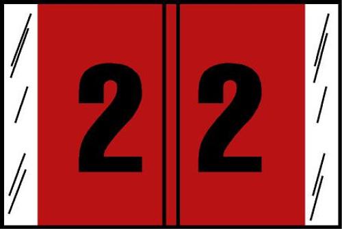 "Tabbies® Original COL'R'TAB® Digi-Kolor Numeric 14560 Labels, Red, 1""H x 1-1/2""W, ""#2"", 500 Labels/Roll"