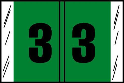"Tabbies® Original COL'R'TAB® Digi-Kolor Numeric 14560 Labels, Light Green, 1""H x 1-1/2""W, ""#3"", 500 Labels/Roll"