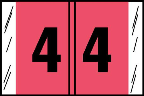 "Tabbies® Original COL'R'TAB® Digi-Kolor Numeric 14560 Labels, Pink, 1""H x 1-1/2""W, ""#4"", 500 Labels/Roll"