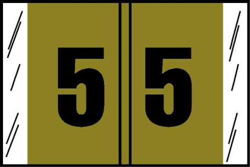 "Tabbies® Original COL'R'TAB® Digi-Kolor Numeric 14560 Labels, Gold, 1""H x 1-1/2""W, ""#5"", 500 Labels/Roll"