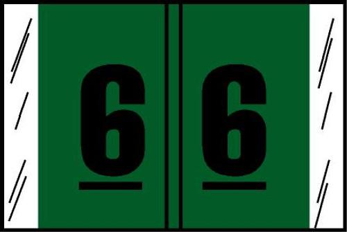 "Tabbies® Original COL'R'TAB® Digi-Kolor Numeric 14560 Labels, Green, 1""H x 1-1/2""W, ""#6"", 500 Labels/Roll"