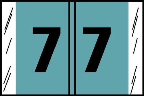 "Tabbies® Original COL'R'TAB® Digi-Kolor Numeric 14560 Labels, Light Blue, 1""H x 1-1/2""W, ""#7"", 500 Labels/Roll"