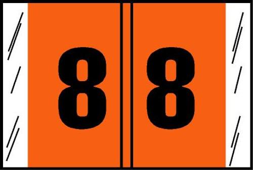 "Tabbies® Original COL'R'TAB® Digi-Kolor Numeric 14560 Labels, Orange, 1""H x 1-1/2""W, ""#8"", 500 Labels/Roll"