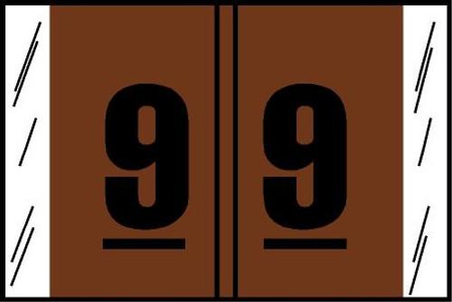 "Tabbies® Original COL'R'TAB® Digi-Kolor Numeric 14560 Labels, Brown, 1""H x 1-1/2""W, ""#9"", 500 Labels/Roll"