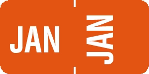 "Tabbies® 1/2"" Horizontal/Vertical Month Labels, Orange, 1/2""H x 1""W, ""JAN"", 100 Labels/Pack"