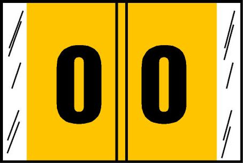 "Tabbies® Original COL'R'TAB® Digi-Kolor Numeric 14560 Labels, Yellow, 1""H x 1-1/2""W, ""#0"", 500 Labels/Roll"