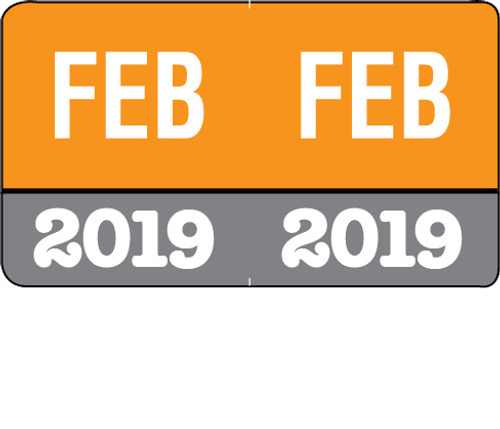 "Month/Year Labels 2019 - February - 225 Labels Per Pack - 1-1/2"" W x 1"" H"