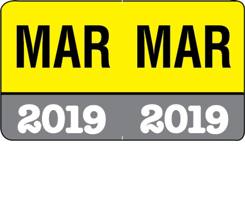 """Month/Year Labels 2019 - March - 225 Labels Per Pack - 1-1/2"""" W x 1"""" H"""