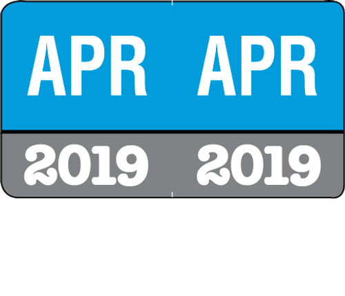 """Month/Year Labels 2019 - April - 225 Labels Per Pack - 1-1/2"""" W x 1"""" H"""
