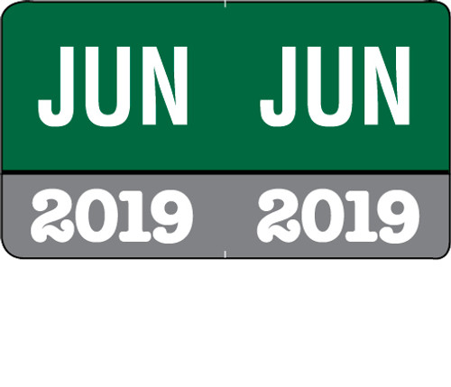 "Month/Year Labels 2019 - June - 225 Labels Per Pack - 1-1/2"" W x 1"" H"