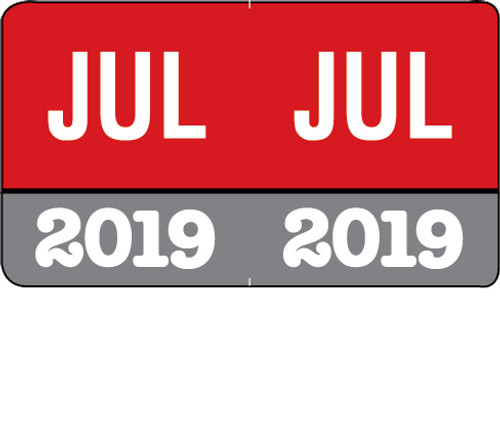 "Month/Year Labels 2019 - July - 225 Labels Per Pack - 1-1/2"" W x 1"" H"