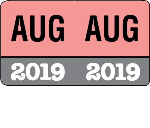 """Month/Year Labels 2019 - August - 225 Labels Per Pack - 1-1/2"""" W x 1"""" H"""