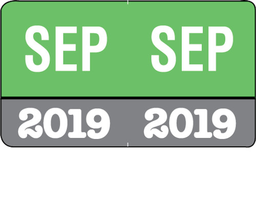 "Month/Year Labels 2019 - September - 225 Labels Per Pack - 1-1/2"" W x 1"" H"