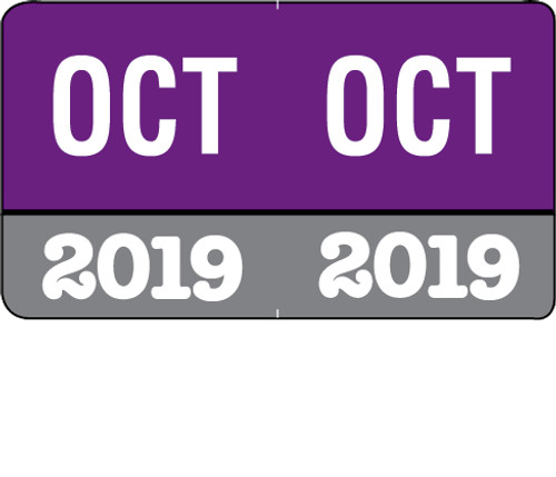 """Month/Year Labels 2019 - October - 225 Labels Per Pack - 1-1/2"""" W x 1"""" H"""