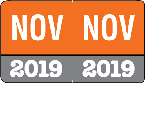 "Month/Year Labels 2019 - November - 225 Labels Per Pack - 1-1/2"" W x 1"" H"