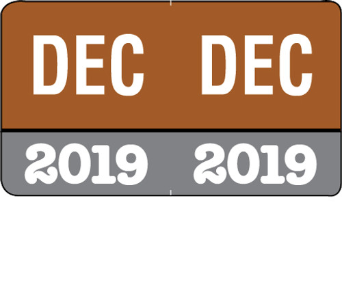 """Month/Year Labels 2019 - December - 225 Labels Per Pack - 1-1/2"""" W x 1"""" H"""