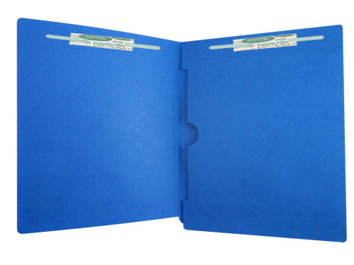 End Tab File Folder with Full Size Pocket on Inside Back Panel - Fasteners in Position 1 & 3 -  11 PT. Dark Blue - Letter Size -  Reinforced Tab - Box of 50