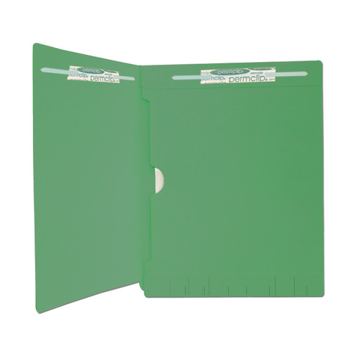 End Tab File Folder with Full Size Pocket on Inside Back Panel - Fasteners in Position 1 & 3 -  11 PT. Dark Green - Letter Size -  Reinforced Tab - Box of 50