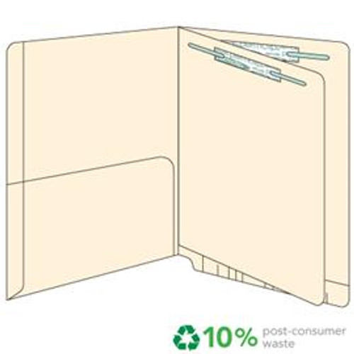 End Tab Pocket Folders with Divider - 14 pt.  Manila - Letter Size -Divider installed - 1/2 Pocket Inside - Permclip Fastener in Position 1/folder - 1 & 3/divider- 50/Box