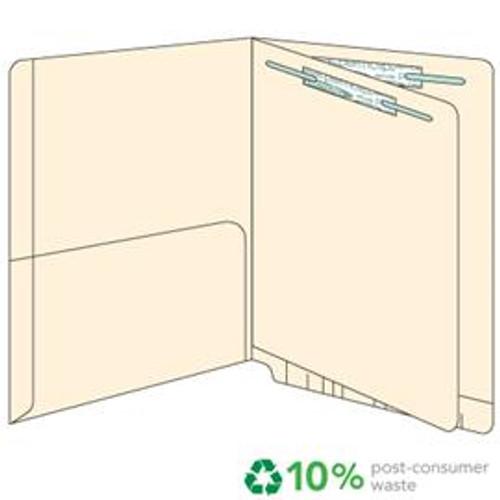End Tab Pocket Folders with Divider - 14 pt.  Manila - Letter Size -Divider installed - 1/2 Pocket Inside - Permclip Fastener in Position 1/folder - 1 & 3/divider- 50/Box