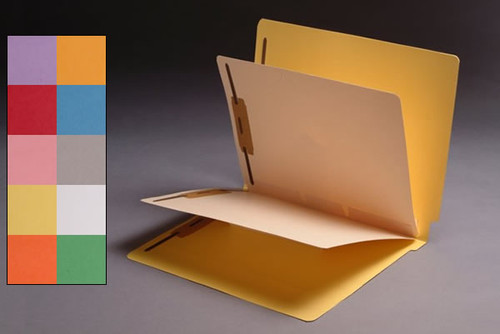 Economy 2 Divider Folders - 14 Pt. Yellow Colored Folder with 2 Dividers - Letter Size - Full Cut Reinforced End Tab -  4 Fasteners - 25/Box