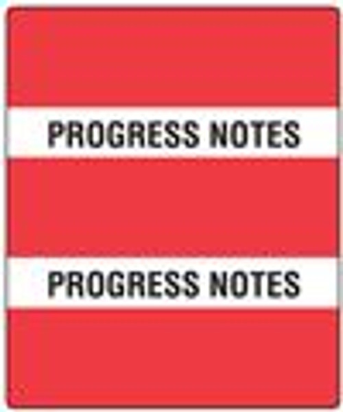 "Patient Chart Index Tabs ""Progress Notes"" - Red - 1-1/2"" H x 1-1/2"" W - 102/Pack  - 52100 Series"