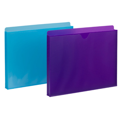 """Smead Poly File Jacket, Straight-Cut Tab, 1"""" Expansion, Letter Size, Assorted Colors, 2 per Pack (89611) - 10 Packs"""