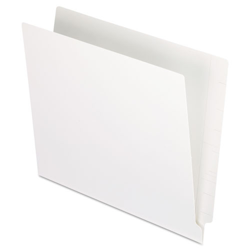 White End Tab File Folder with Fasteners in Positions 5 & 7 - Color White - Letter Size - 14 pt - Reinforced Tab - Full End Tab - Carton of 250