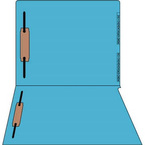 "End/Top Tab Numeric Kardex Folders - BLUE - Letter Size - 3/4"" Expansion - With Fasteners in Positions 1 & 3 - 100/Box"