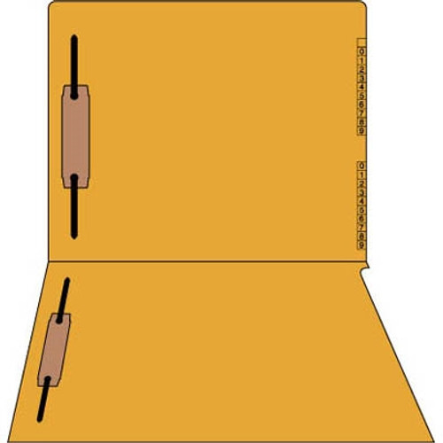 "End/Top Tab Numeric Kardex Folders - Orange - Letter Size - 3/4"" Expansion - With Fastener in Positions 1 & 3 - 100/Box"