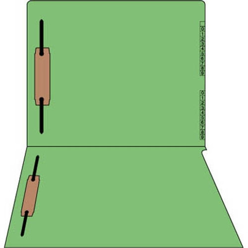 "End/Top Tab Numeric Kardex Folders - Green - Letter Size - 3/4"" Expansion - With Fasteners in Positions 1 & 3 - 100/Box"